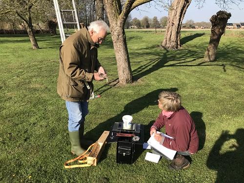 Ineke en Dick aan het werk met het meten van de vleugel lengte.