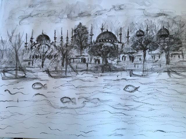 #istanbul #graphitepencil #quickdrawaday #drawing #blackandwhite  #skyline #bluemosque #hagiasofia #ayasofya #highlightsofistanbul
