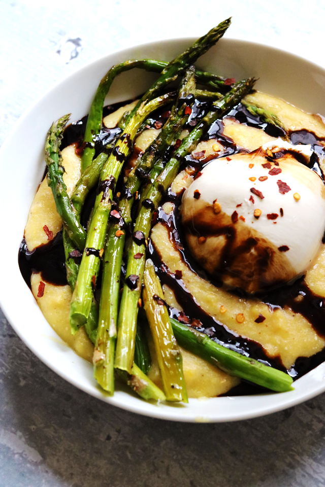 Roasted Asparagus with Polenta, Burrata, and Balsamic Drizzle