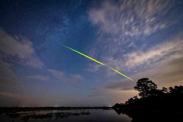 Green fireball meteor from the Eta Aquarid Meteor Shower around 5 a.m. in Babcock Wildlife Management Area near Punta Gorda, Florida