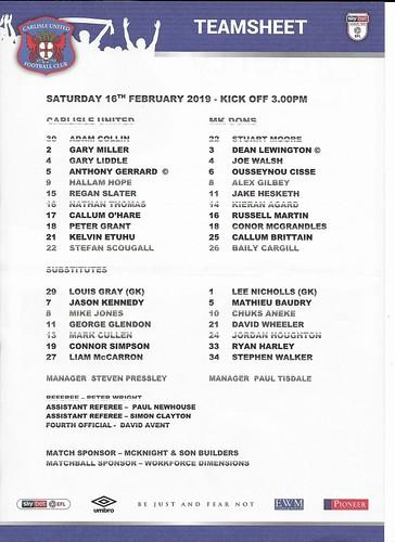 Carlisle United V MK Dons 16-2-19 | by cumbriangroundhopper