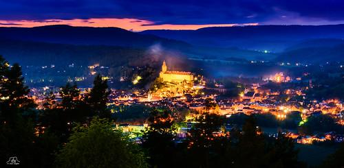 thüringen germany schloss deutschland dämmerung abend panorama city rudolstadt thuringia heidecksburg night evening castle burg lzb langzeitbelichtung