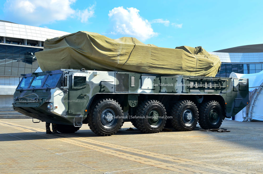 Minsk, Belarus: Military exhibition MILEX-2019: Special vehicle MZKT-69225 with the wheel formula 8x8 for the new air defense missile system Buk-MB3K by enterprise NPOOO OKB TSP