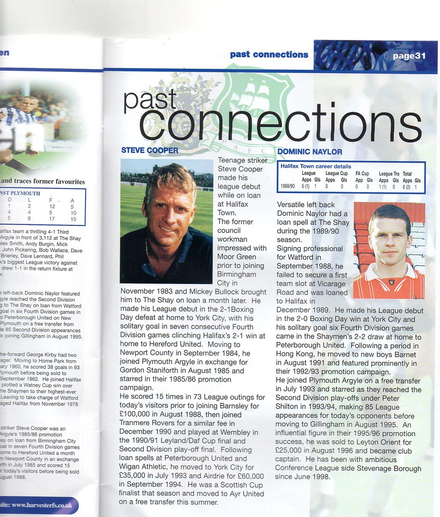 21-08-1999 Halifax Town 0-1 Plymouth Argyle 8 Steve Cooper & Dominic Naylor