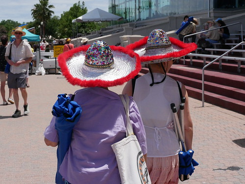 Hat fashion  on Day 8 of Jazz Fest - 5.5.19. Photo by Louis Crispino.