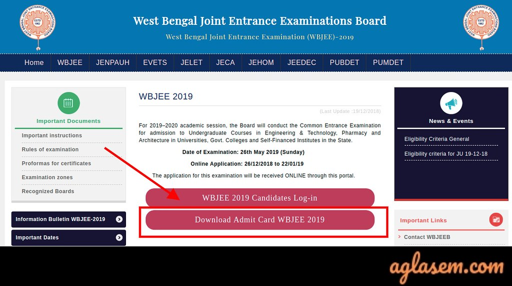 WBJEE 2019 Admit Card