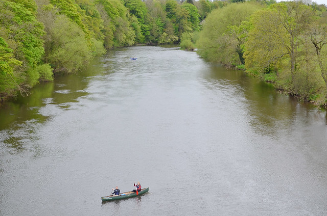 Canoeing in the rain, May in Hay on Wye, Wales