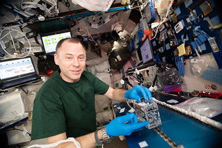 NASA astronaut Nick Hague works on the Genes In Space-6 experiment | by NASA Johnson