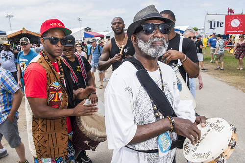 Big Chief Tyrone Casby with Mohawk Hunters at Jazz Fest 2019 day 8 on May 5, 2019. Photo by Ryan Hodgson-Rigsbee RHRphoto.com