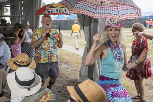 Second lining in Economy Hall with Jerry Siefken - Jazz Fest 2019 day 8 on May 5, 2019. Photo by Ryan Hodgson-Rigsbee RHRphoto.com