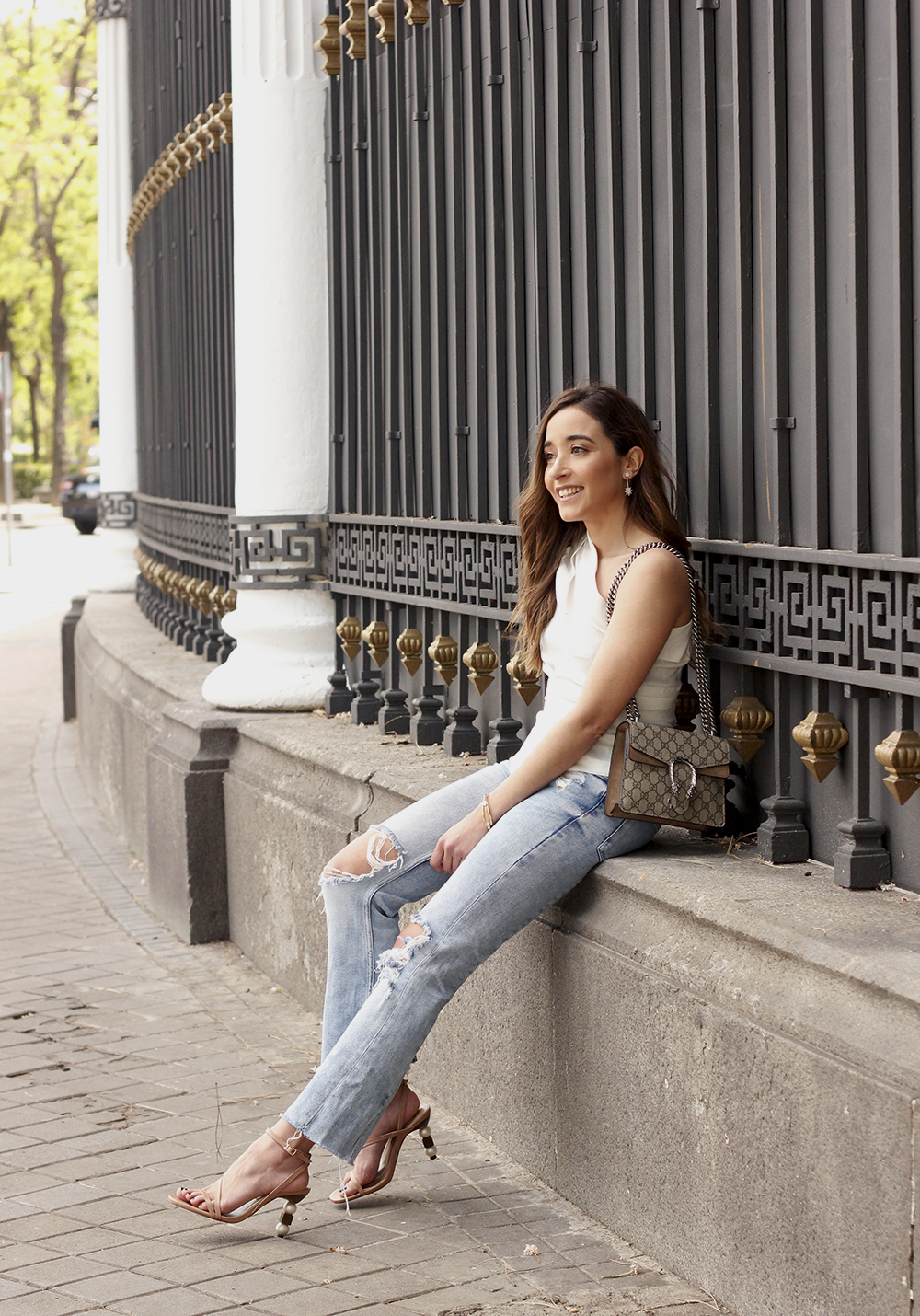 White Asymmetrical Linen Top jeans gucci bag street style outfit 20197