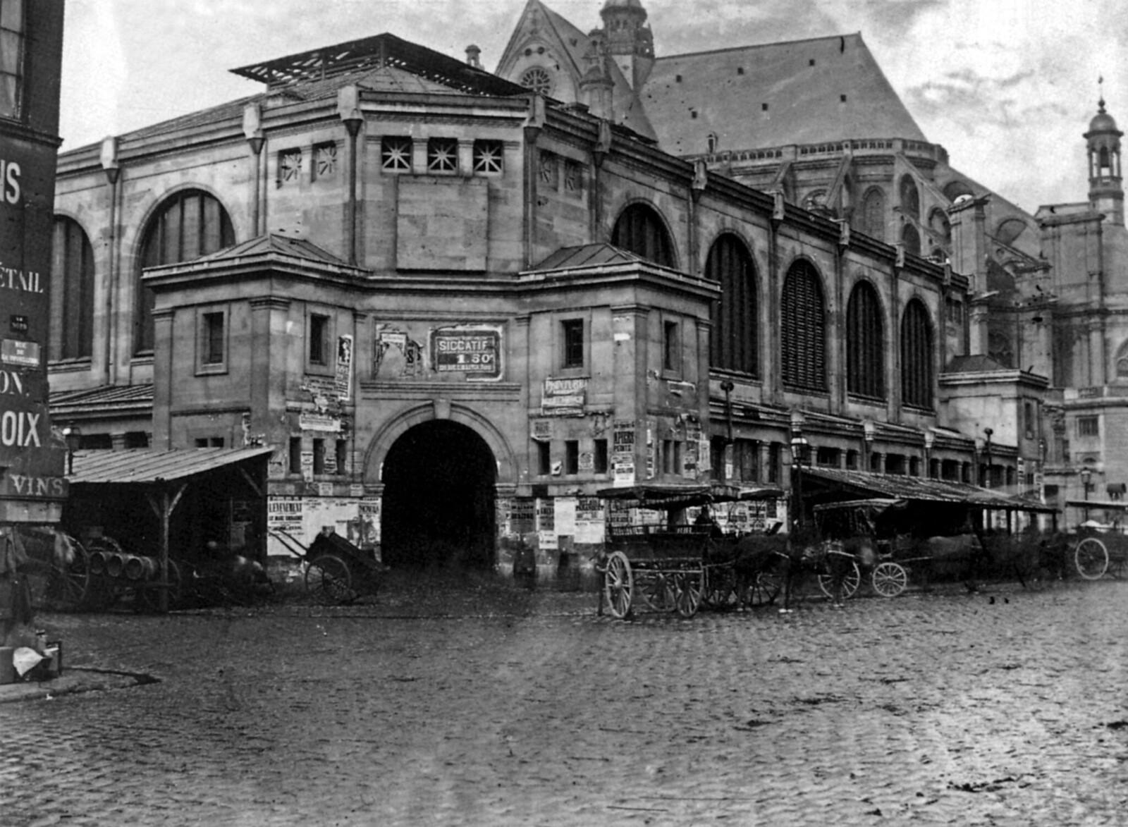 1870. Вид на церковь Сент-Эсташ и мясной рынок