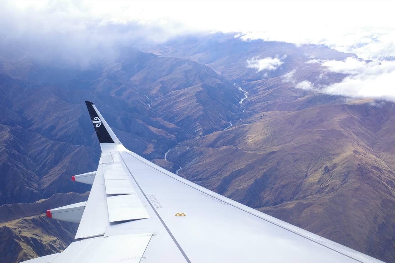 ニュージーランド 飛行機からの眺め