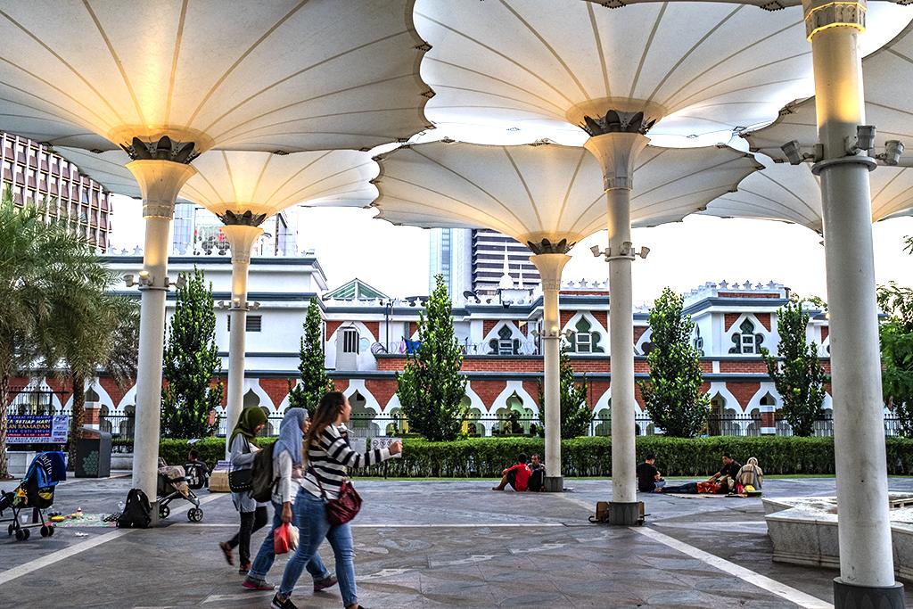 Huge parasols added to historical Jamek Mosque--Kuala Lumpur