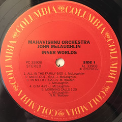 MAHAVISHNU ORCHESTRA JOHN MCLAUGHLIN:INNER WORLDS(LABEL SIDE-A)