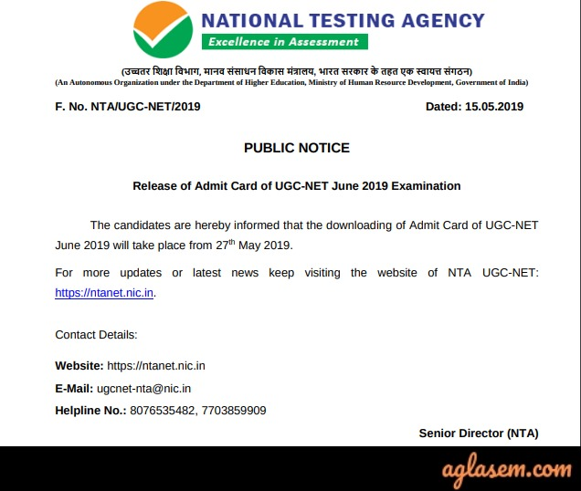 UGC NET Admit Card 2019 - Notice