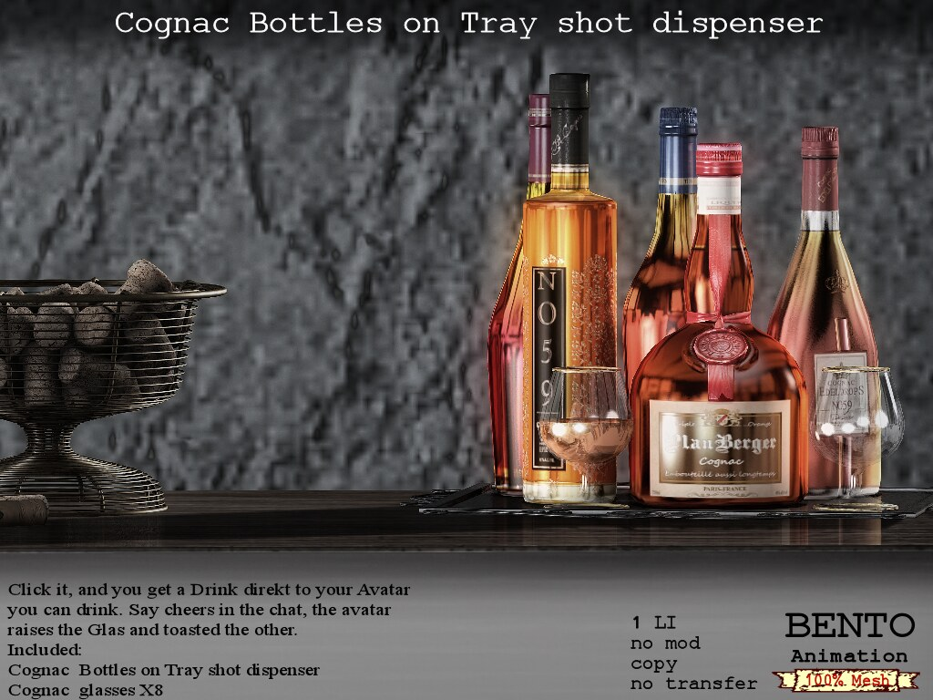 Cognac Bottles on tray