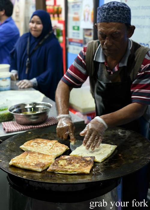 Making martabak at the Ramadan Night Market in Lakemba Sydney