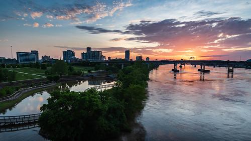 landscape sunset nikond500 d500 naturalstate city wanderfar rivermarket arkansas arkansasriver urban travel river tourism nikon building tamron1024mm littlerock 2019 water downtown