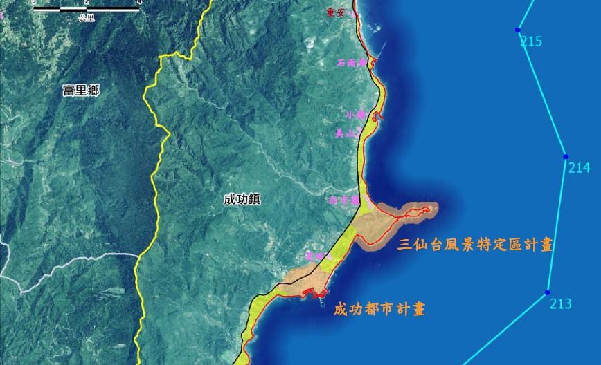 黃色為代表備劃設重要海岸景觀區景觀道路類(第1階段)的範圍(僅截取部分),靠海側還是有不少區塊(橘色區塊)依舊被排除在外。圖片截自內政部公告。