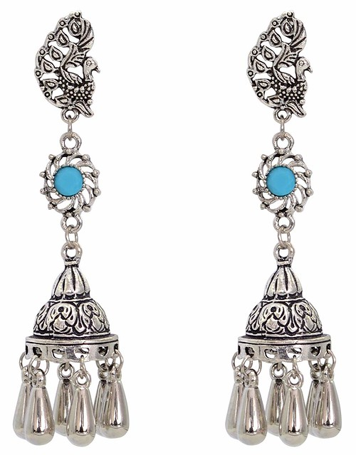 Long Oxidized Silver pearl blue stone peacock Art Long Oxidized Vivacity Stud silver earring Jhumka Jhumki jewelry