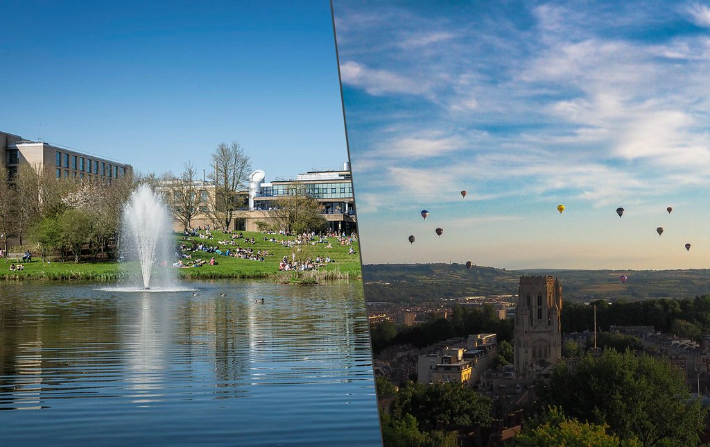 A split image of Bath and Bristol
