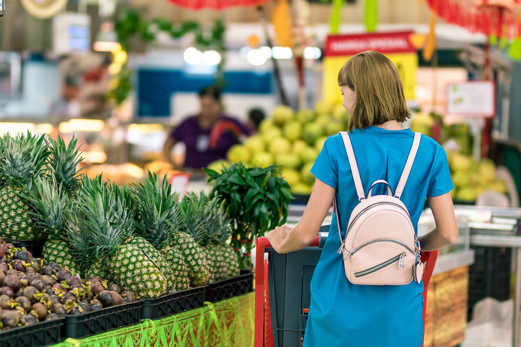 Young woman in supermarket on Bali island. | Young woman in … | Flickr