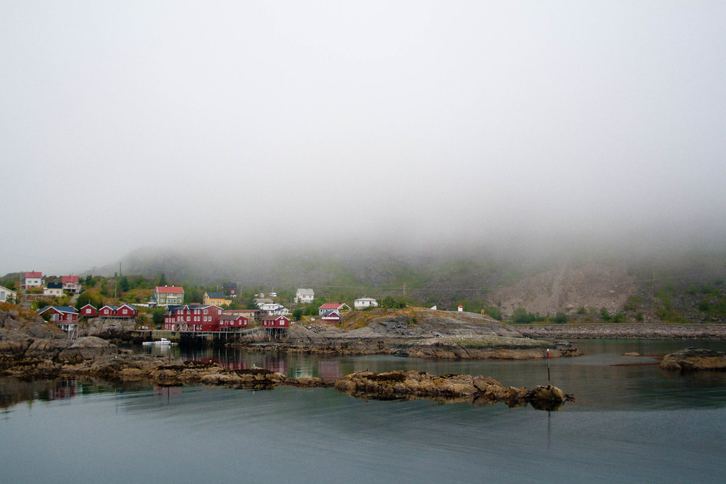 The village of A i Lofoten surrounded by fog