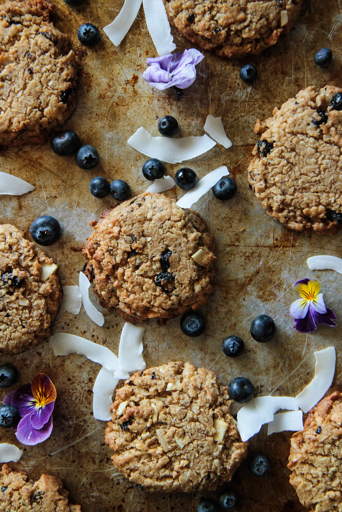Coconut Blueberry Cookies (gluten-free and vegan) from HeatherChristo.com