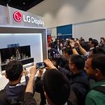 16일(현지시간) 미국 새너제이에서 열린 SID 2019에서 관람객들이 LG디스플레이 부스 앞에 전시된 65인치 롤러블 OLED TV를 보고 있는 모습