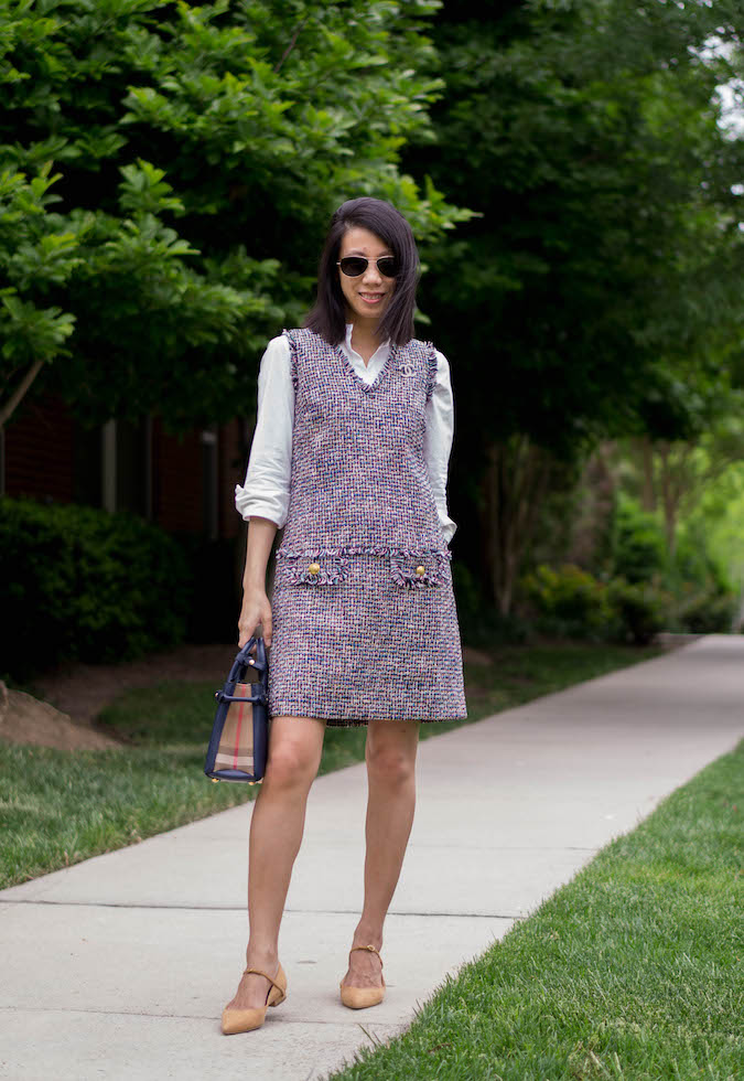 Chanel 18P crystal/pearl brooch, J.Crew stretch button-up shirt with peplum, J.Crew v-neck fringe sheath dress in multicolor metallic tweed, Olivia Burton watch, Burberry small Banner bag, Jennifer Chamandi Lorenzo suede flats