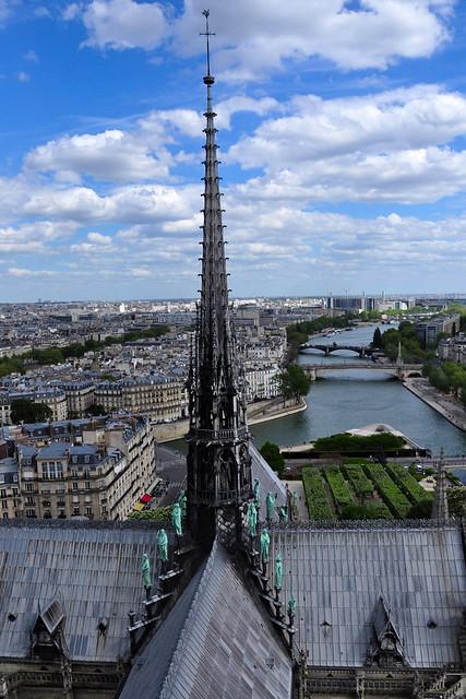 The Spire of Cathédrale Notre-Dame de Paris, (la Flèche de Notre-Dame de Paris) in 2018