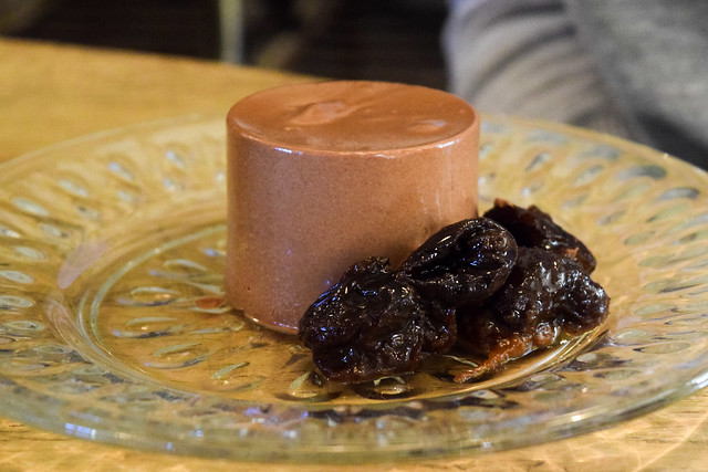 Chocolate Mousse and Brandied Prunes at The Pig Hotel, Bridge