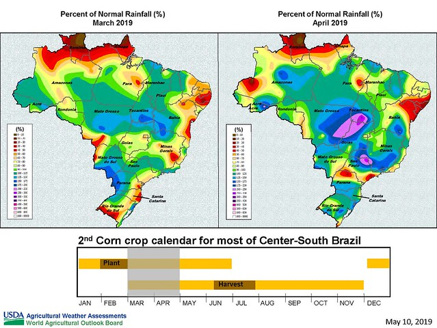 Image showing rainfall levels in Brazil from a recent briefing on the World Agricultural Supply and Demand Estimates Report