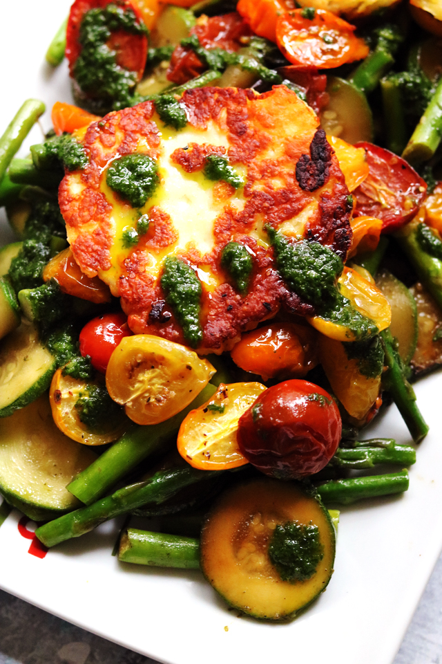 Fried Halloumi, Asparagus, Zucchini, and Roasted Cherry Tomatoes with Basil Oil