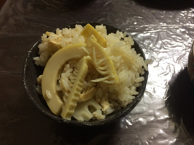 Rice with boiled bamboo shoots