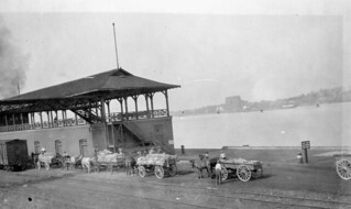 Potatoes from the Sarnia area being loaded onto ships destined for ports in Northern Ontario, Sarnia, Ontario / Pommes de terre de la région de Sarnia chargées sur des navires à destination des ports du nord de l'Ontario, Sarnia, Ontario