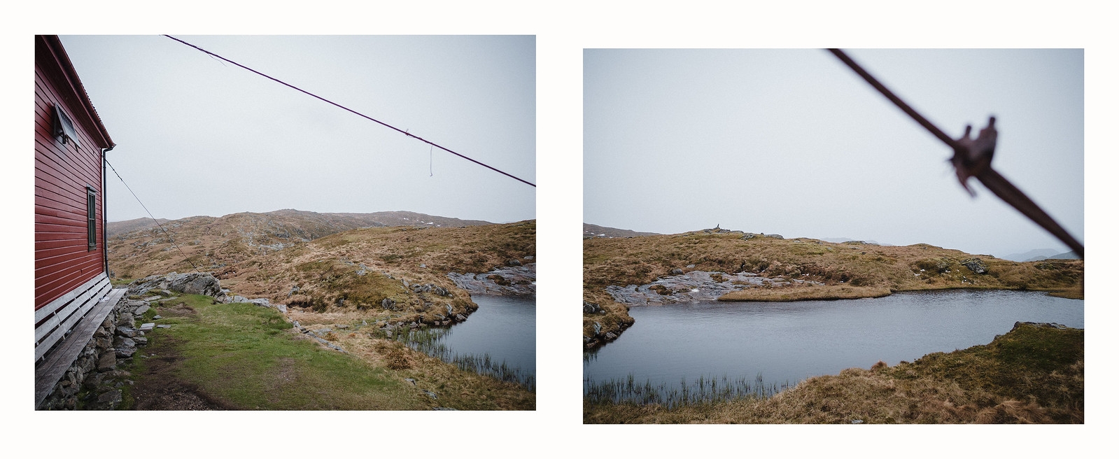 Diptych showing a side of a hut and the pond next to it.