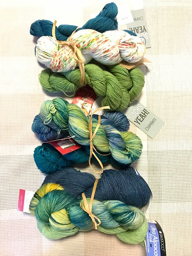 Manos Allegria in Ghostbusters and Coopknits Socks Yeah! in Peridot and Topaz; ZenYarnGarden Serenity 20 in New Apple, Mento and Coast Guard; ZYG Serenity 20 in New Apple and Berroco Ultra Alpaca in Lime Mix and Starry Night Mix