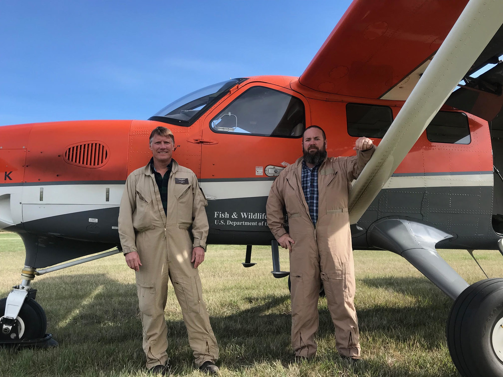 Thorpe and Chandler surveying the southern Saskatchewan crew area, USFWS