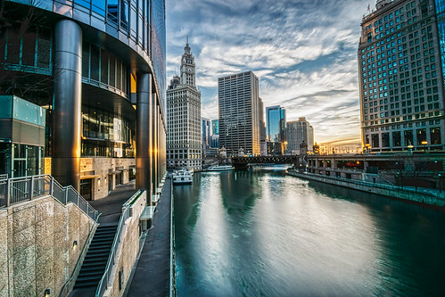 chicago chicagoriver hdr illinois nikon nikond5300 outdoor trumptower wrigleybuilding city cityscape clouds downtown geotagged longexposure morning outside reflection reflections river sky sunrise water