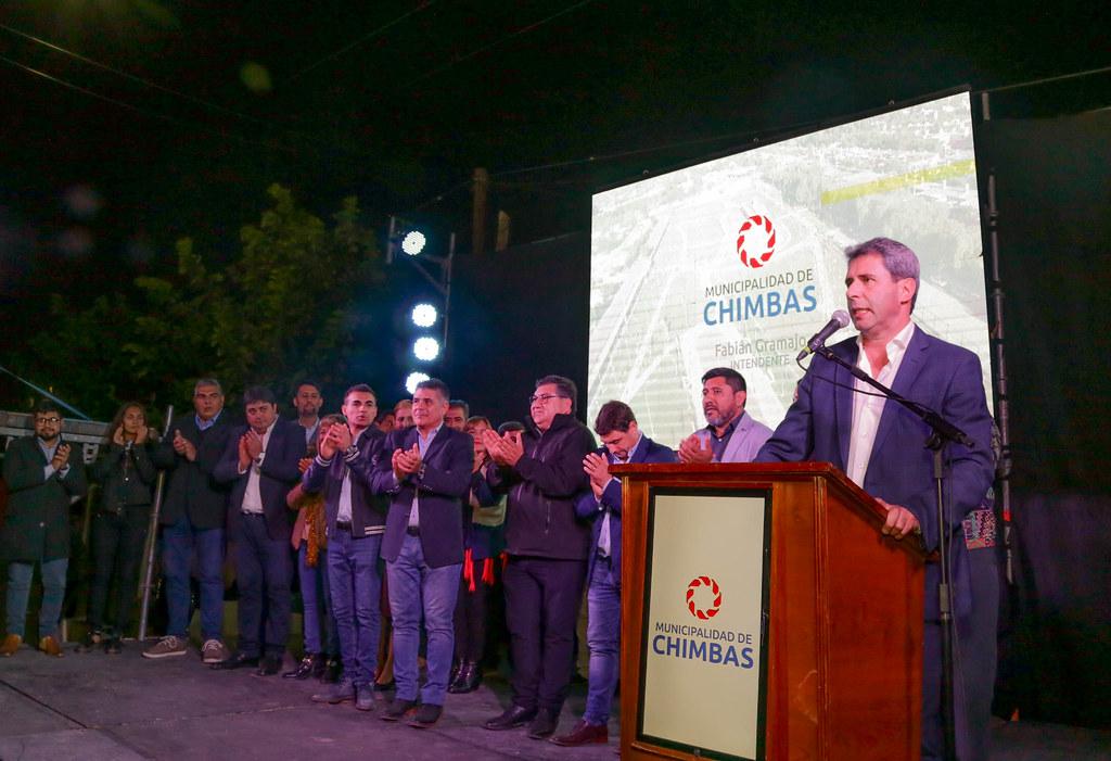 2019-05-10 PRENSA: Uñac inauguró la Plaza Evita y entregó Maquinarias, Insumos y Herramientas a Cooperativas, en el Departamento de Chimbas.