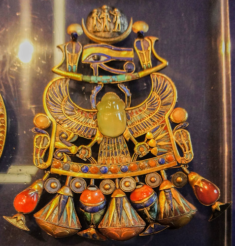 A close up to Khepri amulet in King Tut's Collection