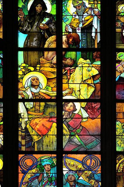 Prague : Detail Mucha stained glass (Mucha vitráže) /  St. Vitus Cathedral / Katedrála svatého Víta  - 7/10