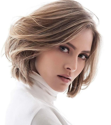 Caramel balayage layered short hairstyle for ladies