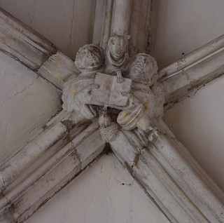 Winchester, Hampshire, cathedral, south aisle, musical keystone