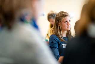 Carina Rothe listening during the session « UX Research Memory »