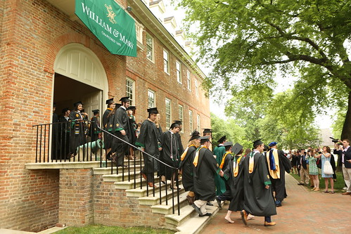 Students begin their walk across campus for the 2019 Commencement ceremony.