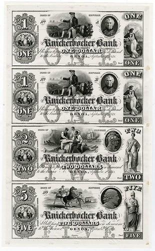 1848-51 Knickerbocker Bank Uncut Proof Sheet