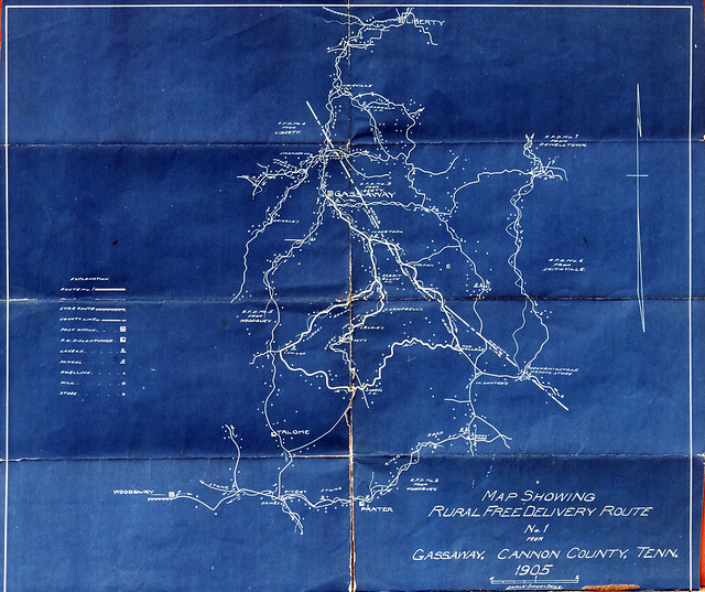 Rural Free Delivery Route map, Gassaway, Cannon County, Tennessee